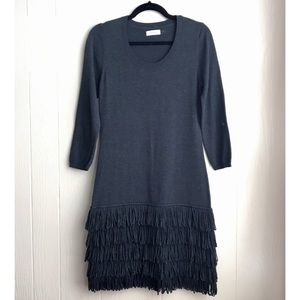 Calvin Klein Poodle Fringe Sweater Dress